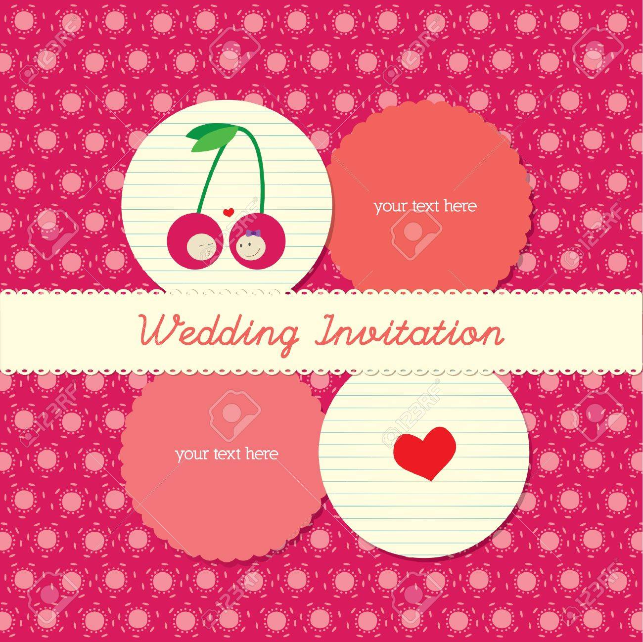 Lovely Wedding Invitation Card With Polka Background Royalty Free ...