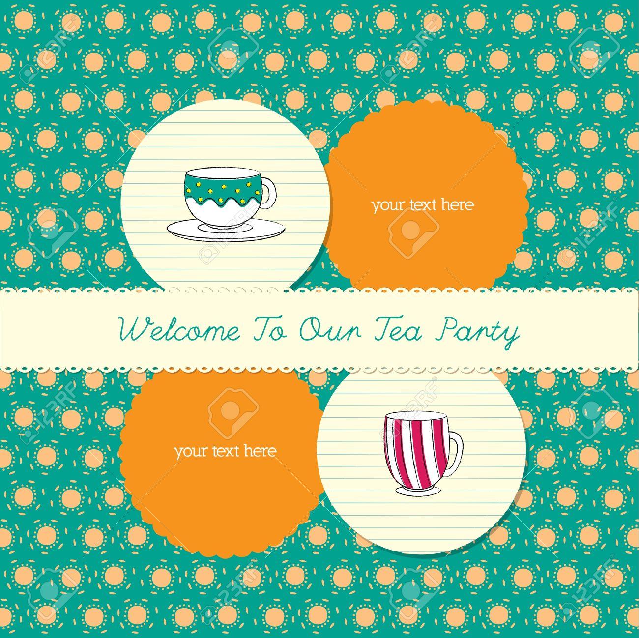cute tea party invitation card Stock Vector - 18689071