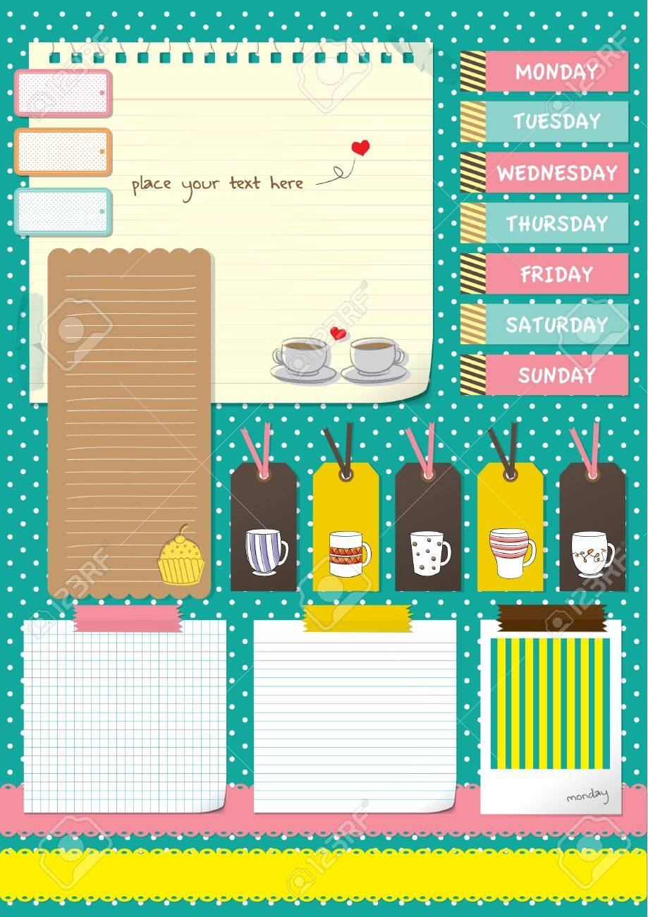 Scrapbook paper note - Vector Coffee Cup Scrapbook Elements With Note Paper