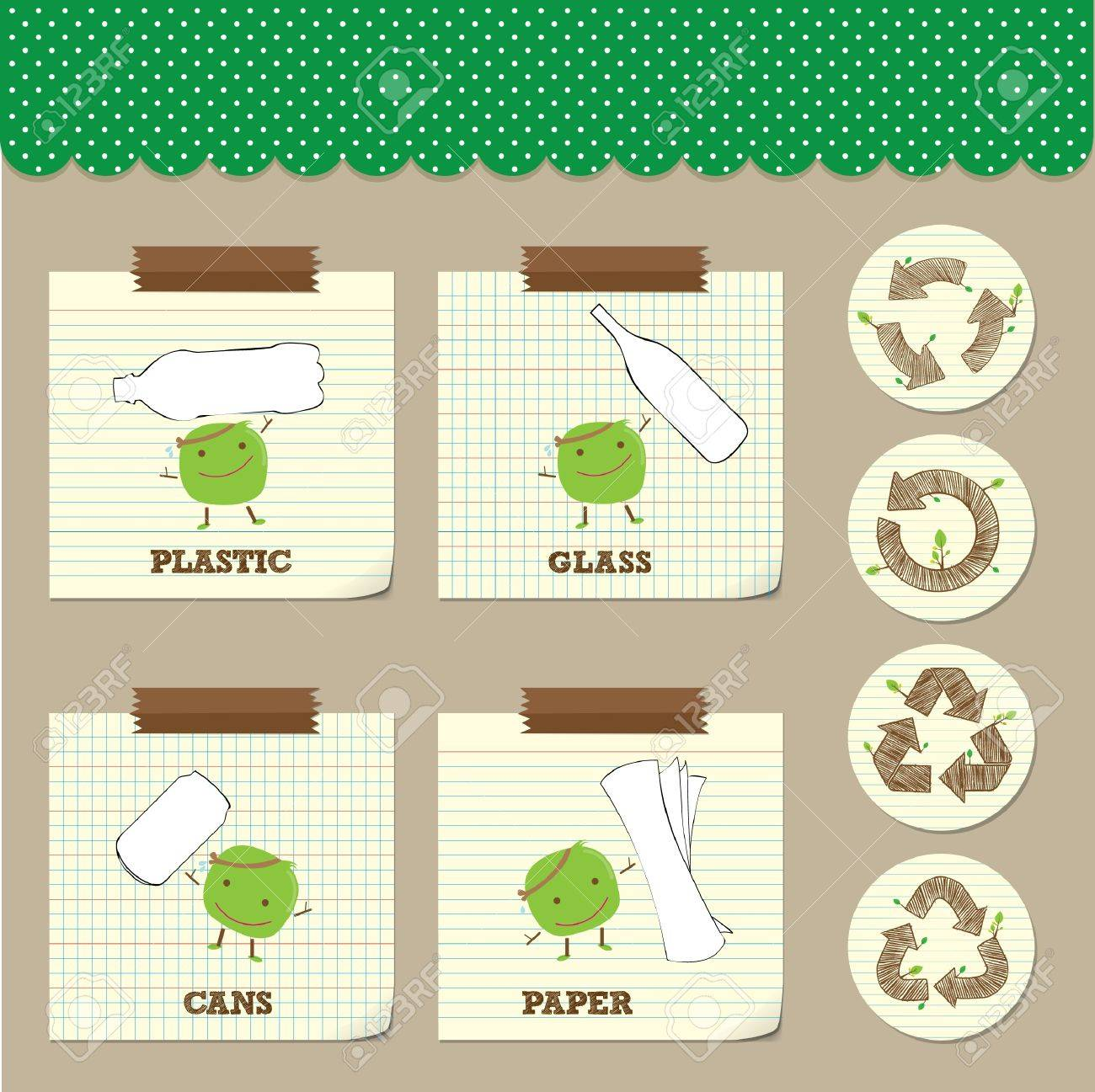 hand drawing recycle symbol with recycle bean on note paper Stock Vector - 18689088