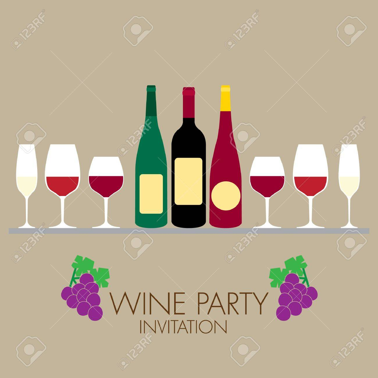 Wine Party Invitation With Simple Graphic Style Royalty Free ...