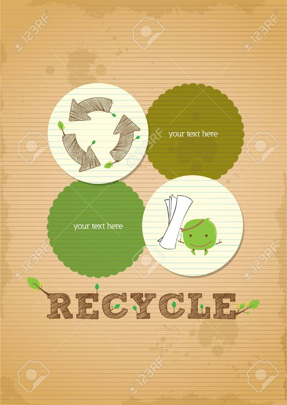 hand draw simple and clean recycling poster Stock Vector - 19638922