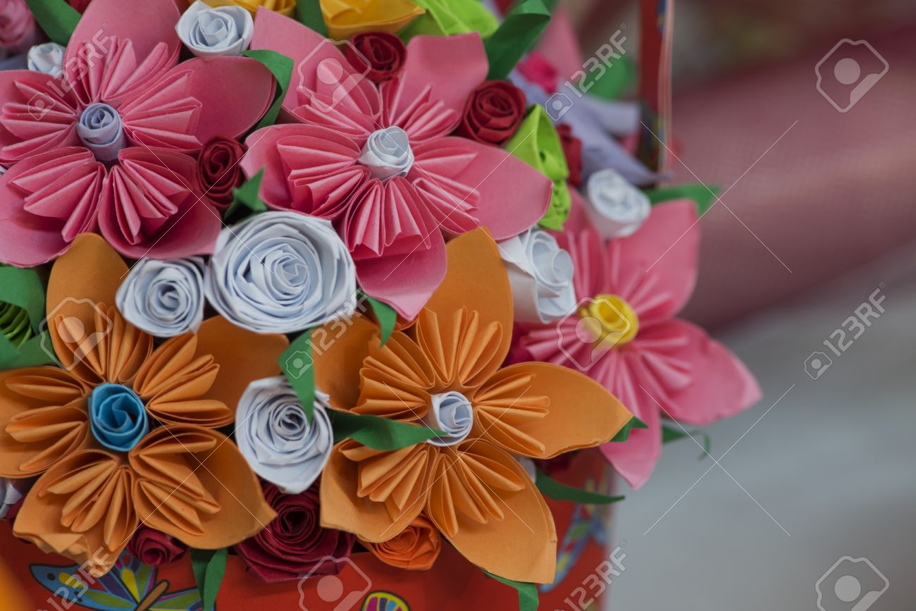 Beautiful paper flowers nice paper decoration handmade flowers beautiful paper flowers nice paper decoration handmade flowers stock photo 36781765 mightylinksfo
