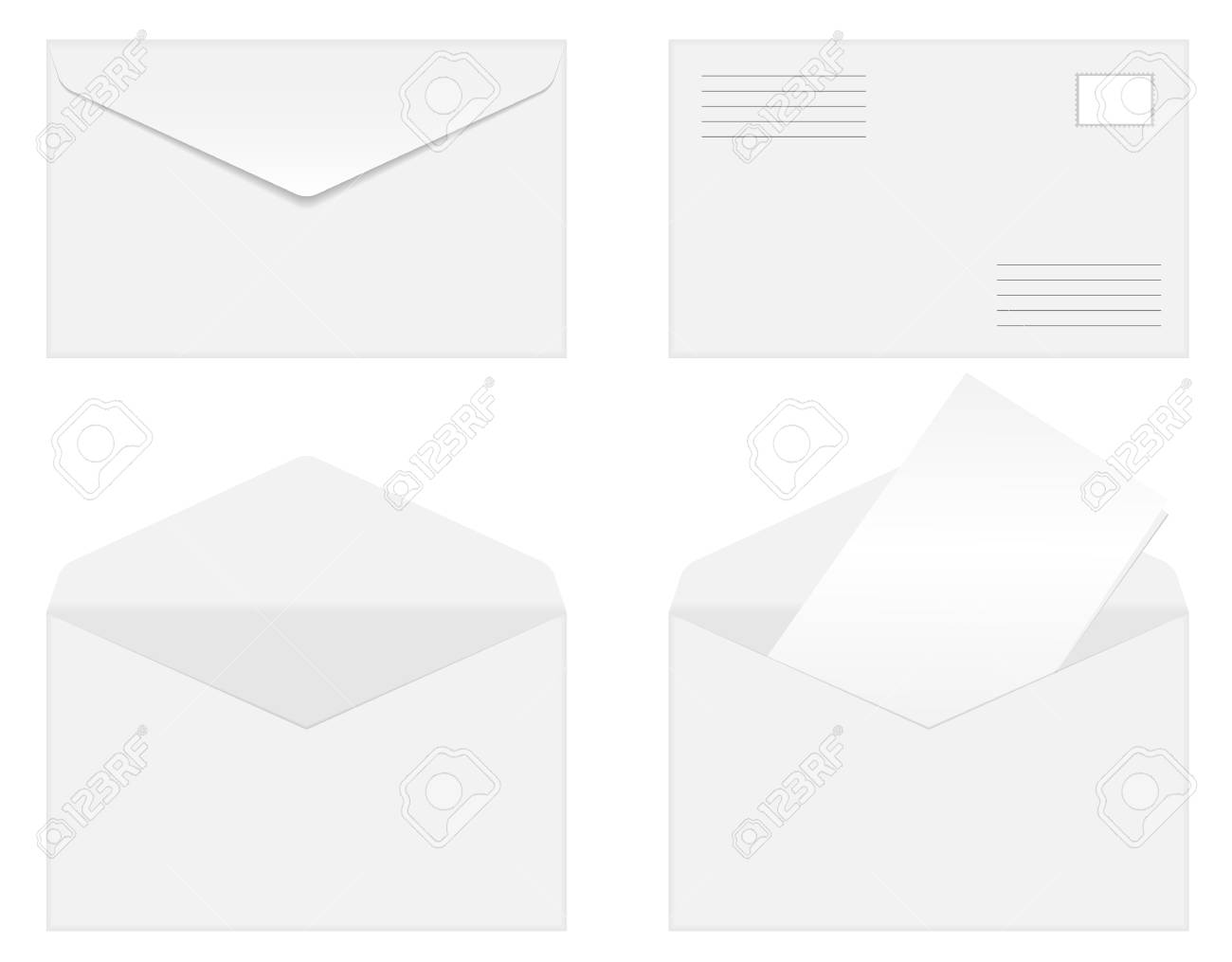 Set of blank vector envelopes isolated on white background Stock Vector - 5328336