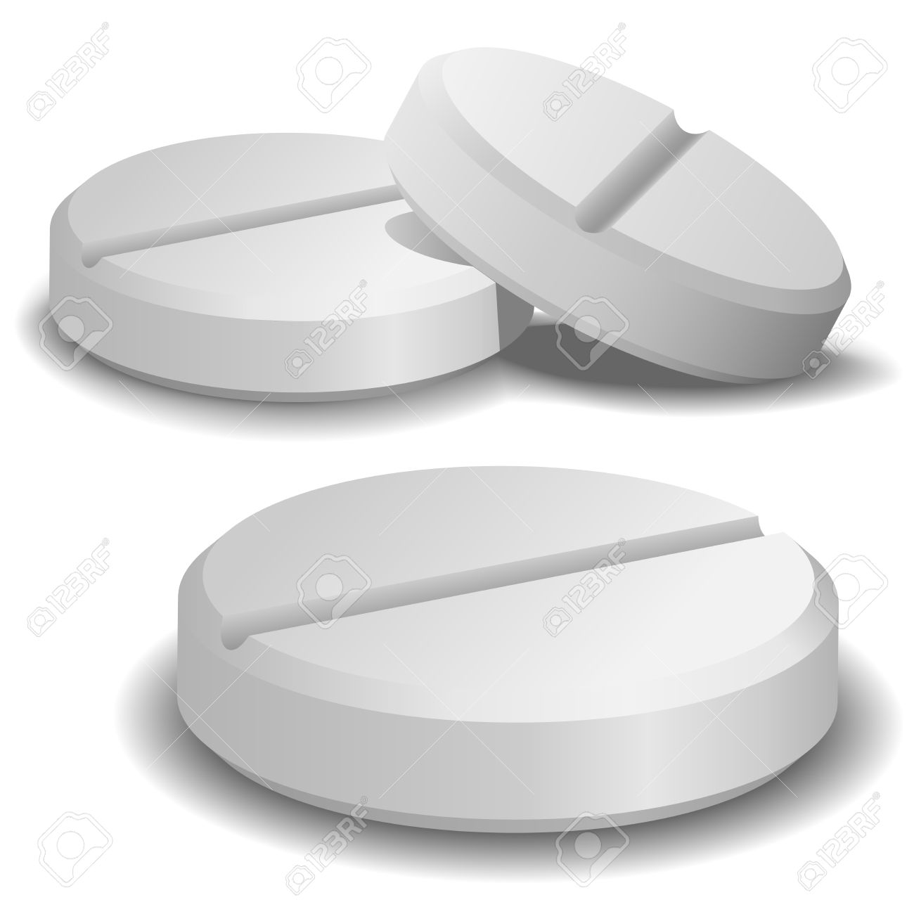 Three vector pills isolated on white background. - 5510816