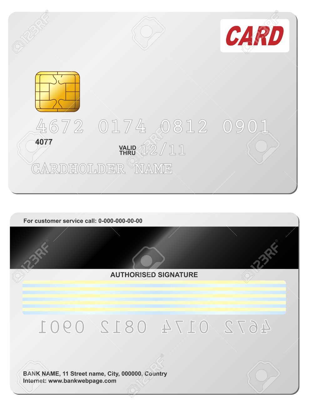 Blank Credit Card Vector Template. Front And Back View. Royalty ...