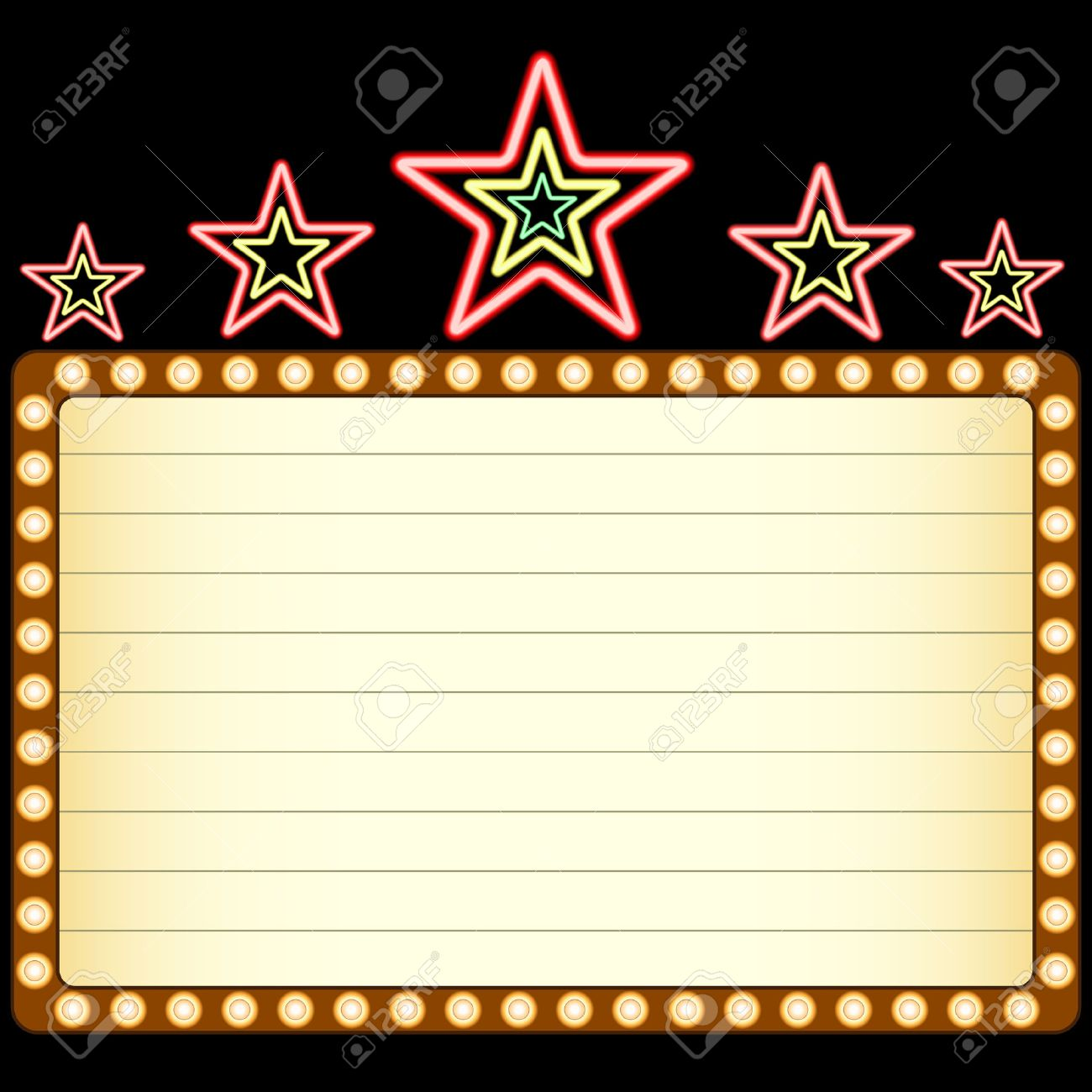 Blank movie, theater or casino marquee with neon stars above isolated on black background. Stock Vector - 5571558