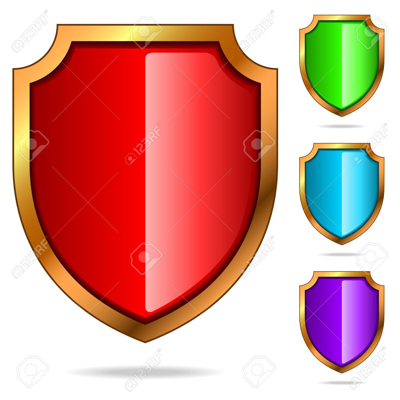 set of color glossy shields isolated on white background. Stock Vector - 5997665