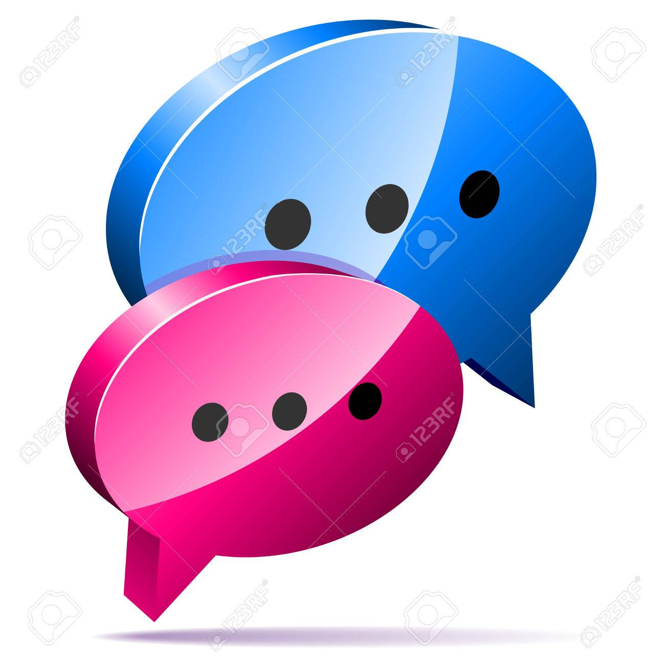 3D speech bubbles. Blog, chat or forum web icon. Stock Vector - 6126244
