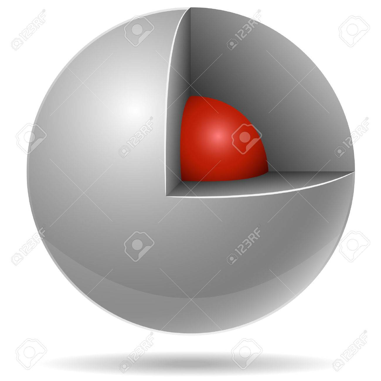 Cross section of white sphere with red one inside isolated on white background. Core concept. Stock Vector - 6126258