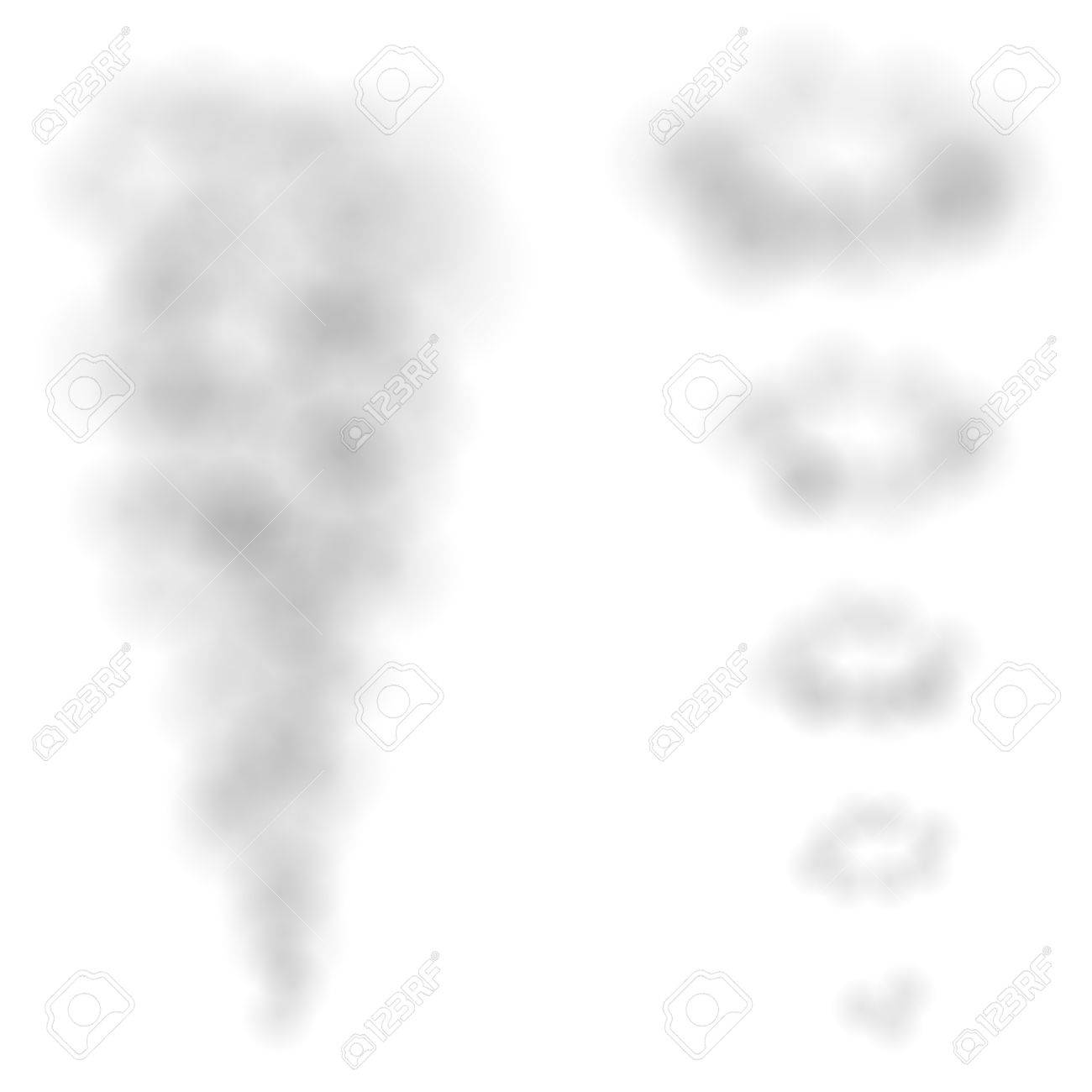Vector smoke puffs and rings isolated on white background. Stock Vector - 6523893