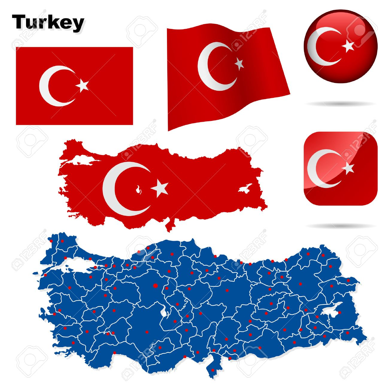 Turkey set. Detailed country shape with region borders, flags and icons isolated on white background. Stock Vector - 7180031
