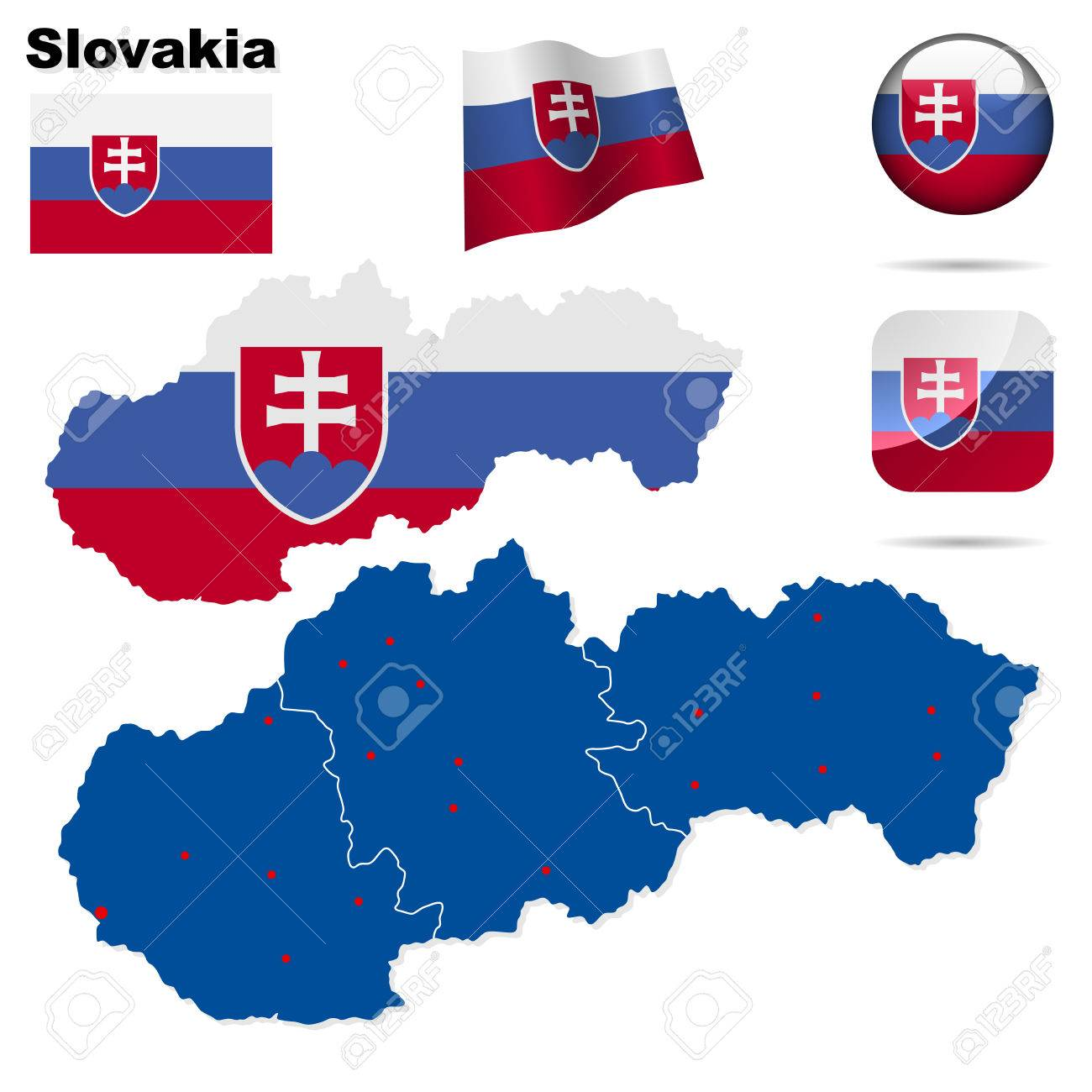 Slovakia   set. Detailed country shape with region borders, flags and icons isolated on white background. Stock Vector - 7180025