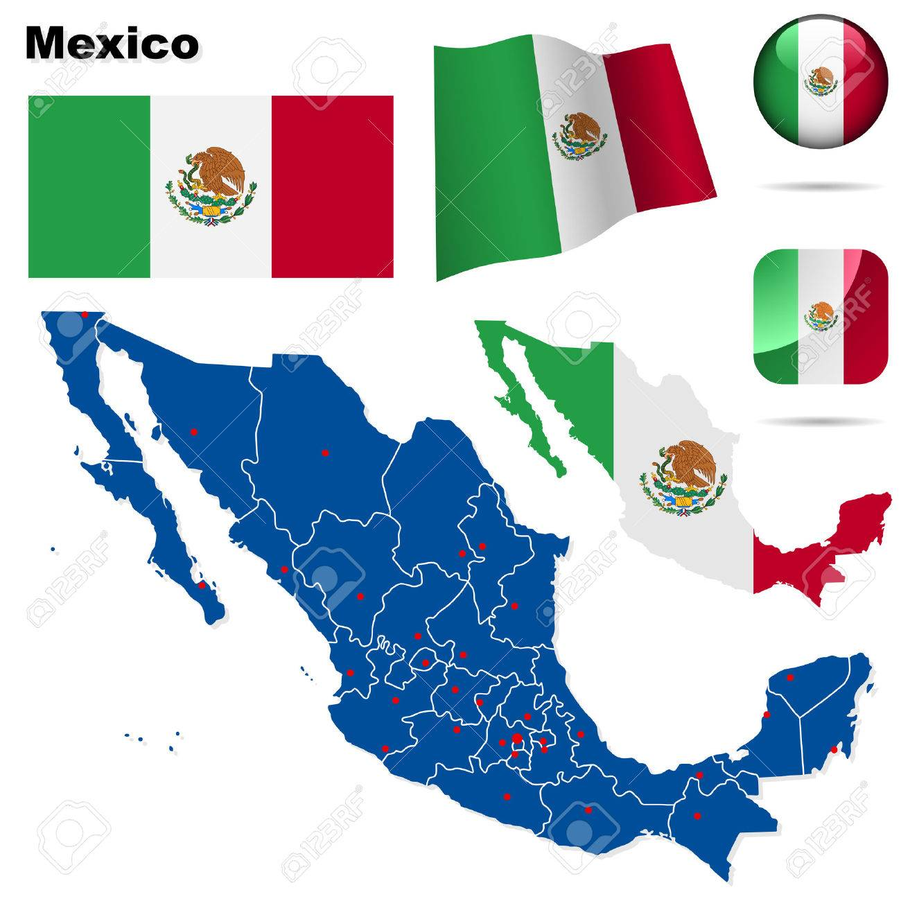 Mexico  set. Detailed country shape with region borders, flags and icons isolated on white background. Stock Vector - 7180038