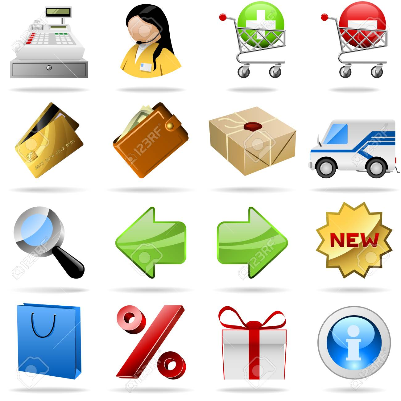 Collection of colorful shopping icons for internet shops. Stock Vector - 7187680
