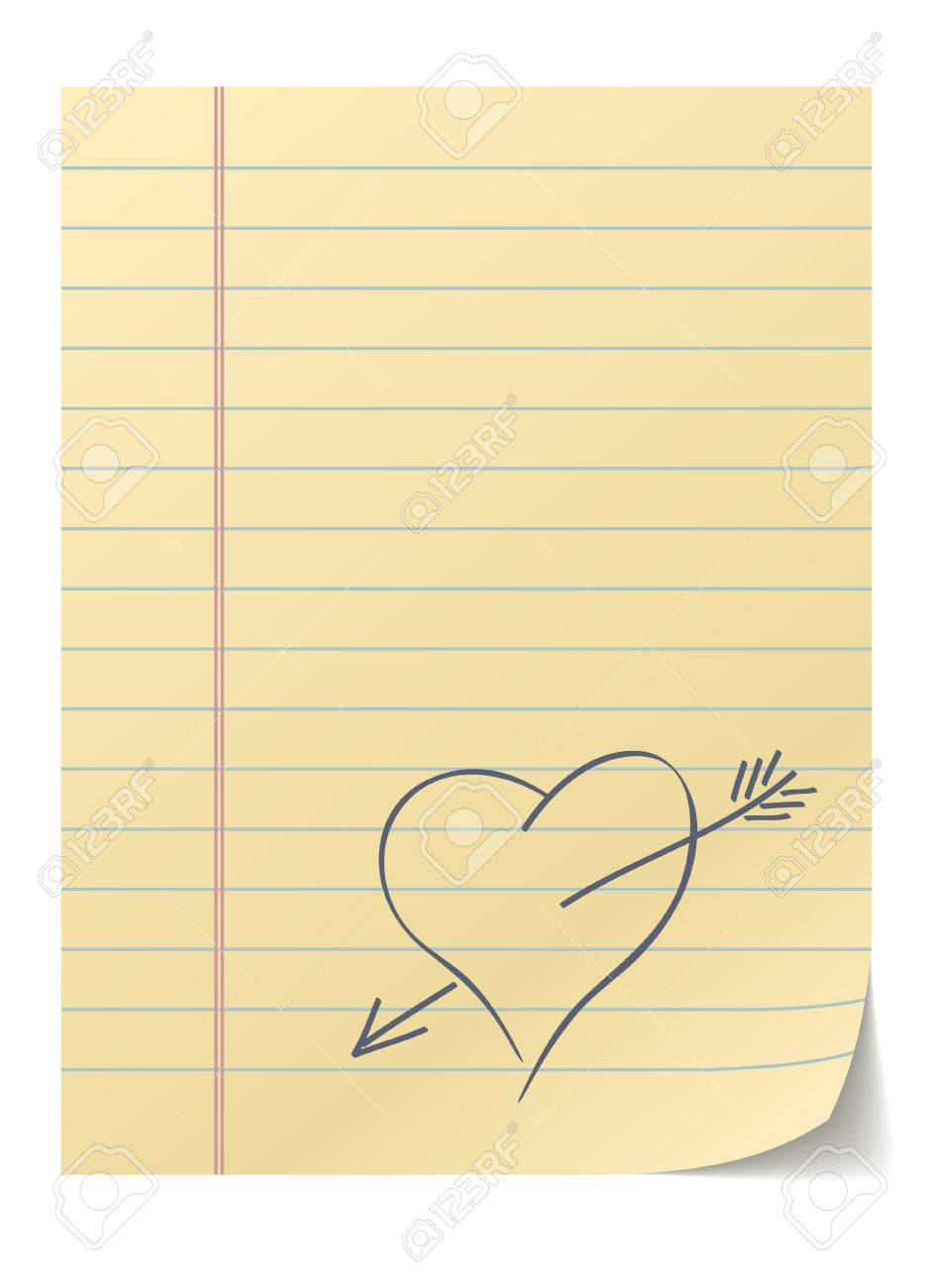 Blank Lined Page With Hand Drawn Heart – Love Message. Royalty Free ...