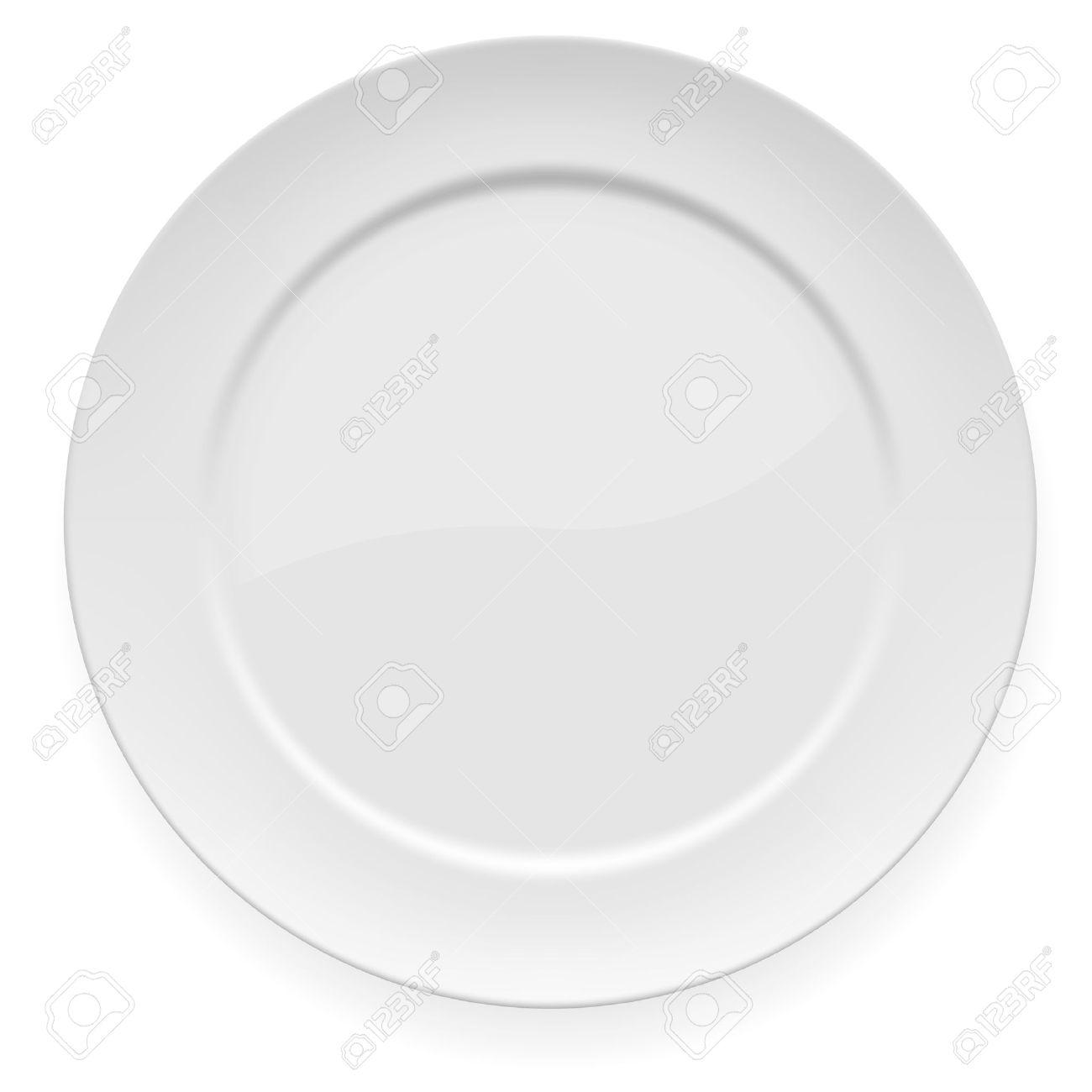 illustration of blank white dinner plate isolated on white. Stock Vector - 14713902
