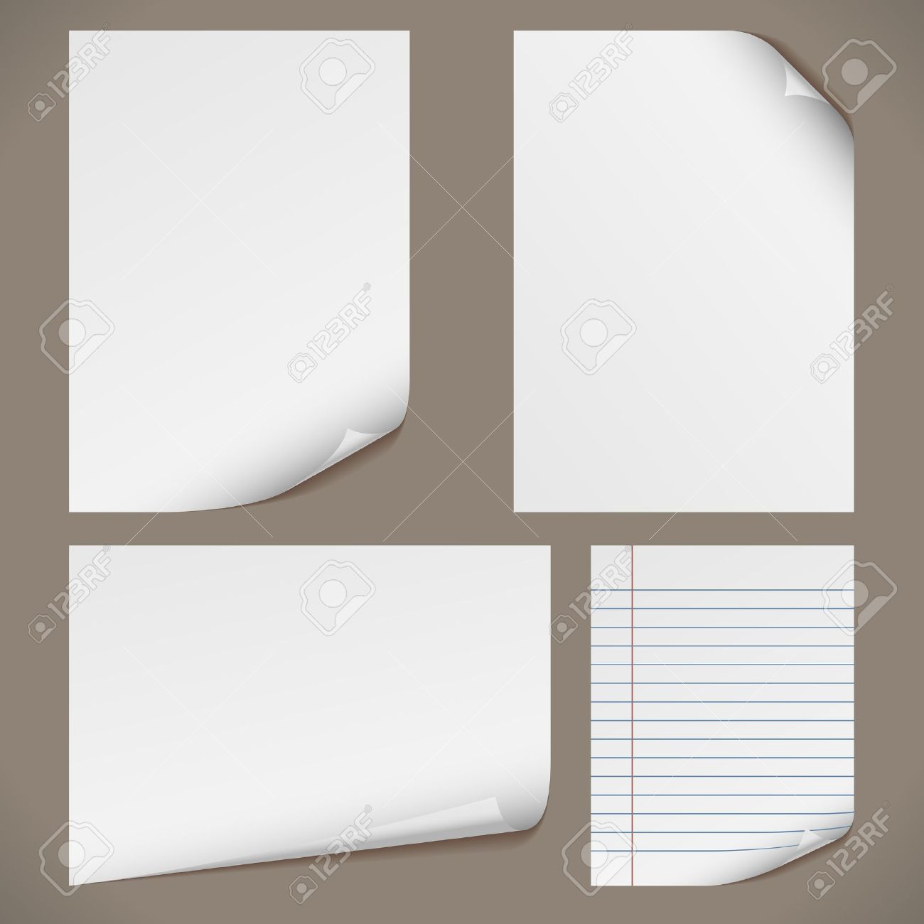 Blank A4 Papers With Curled Corners And Notepad Lined Page – Blank Lined Page