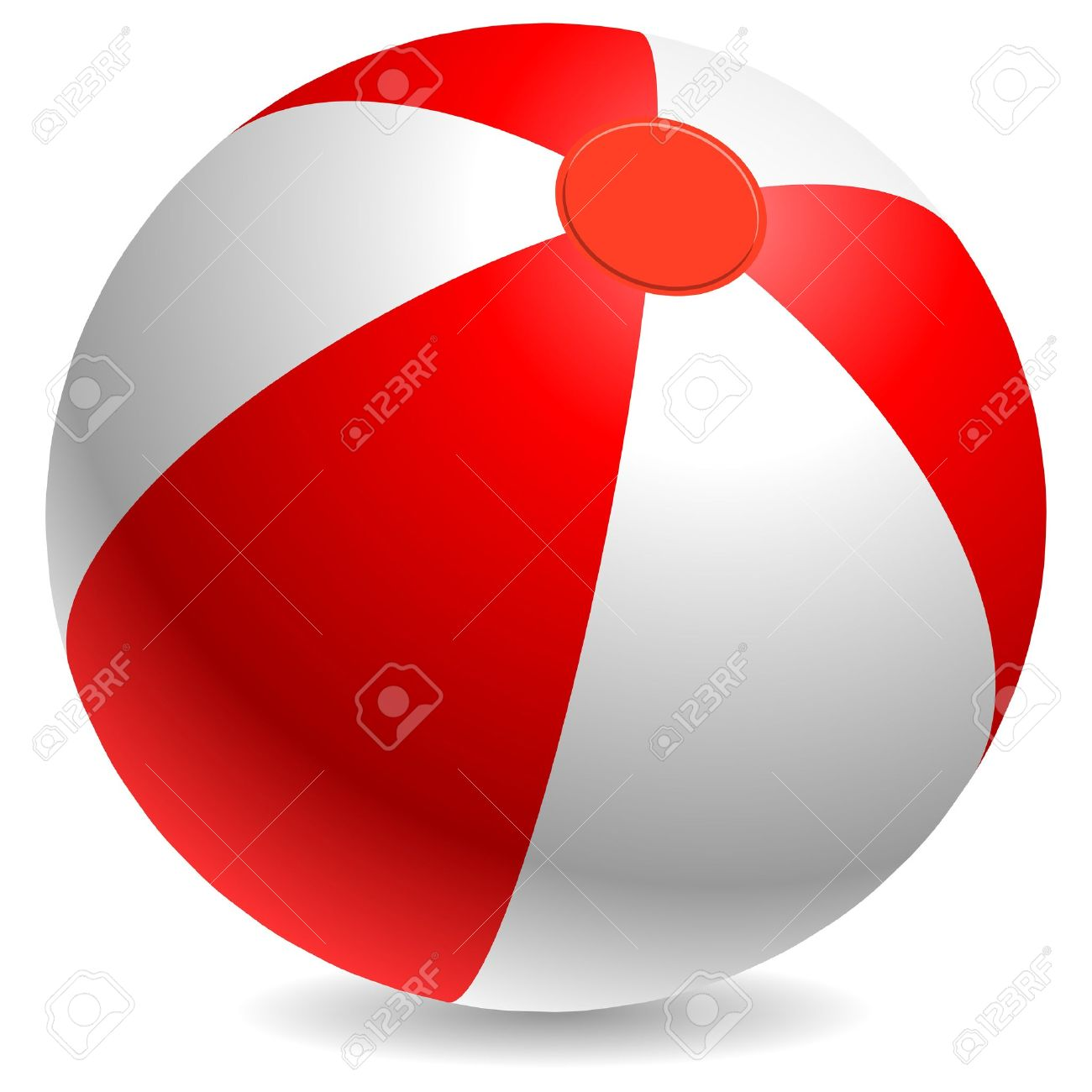 Red and white beach ball isolated on white background Stock Vector - 14968916