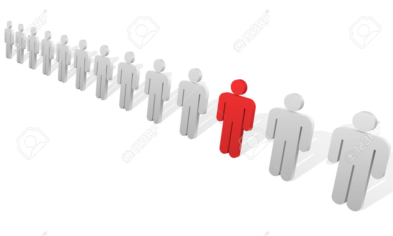 Individuality concept. One red abstract person figure in the row of white ones. Stock Vector - 14969163