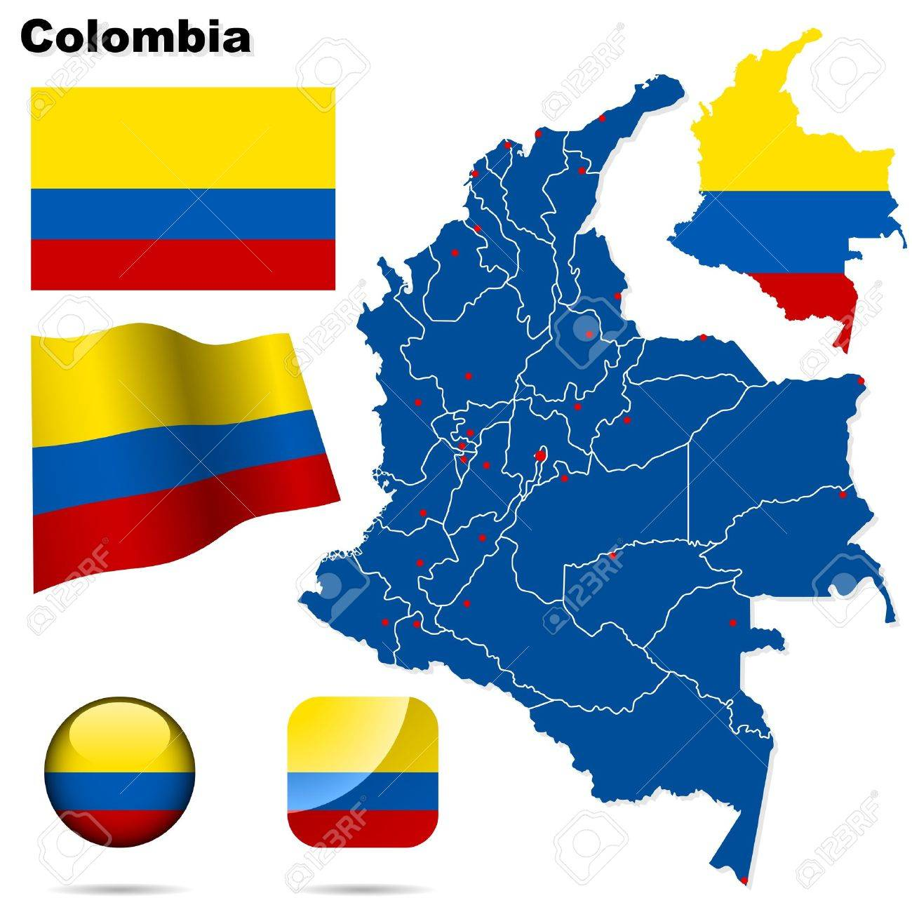 Colombia set. Detailed country shape with region borders, flags and icons isolated on white background. Stock Vector - 14969185