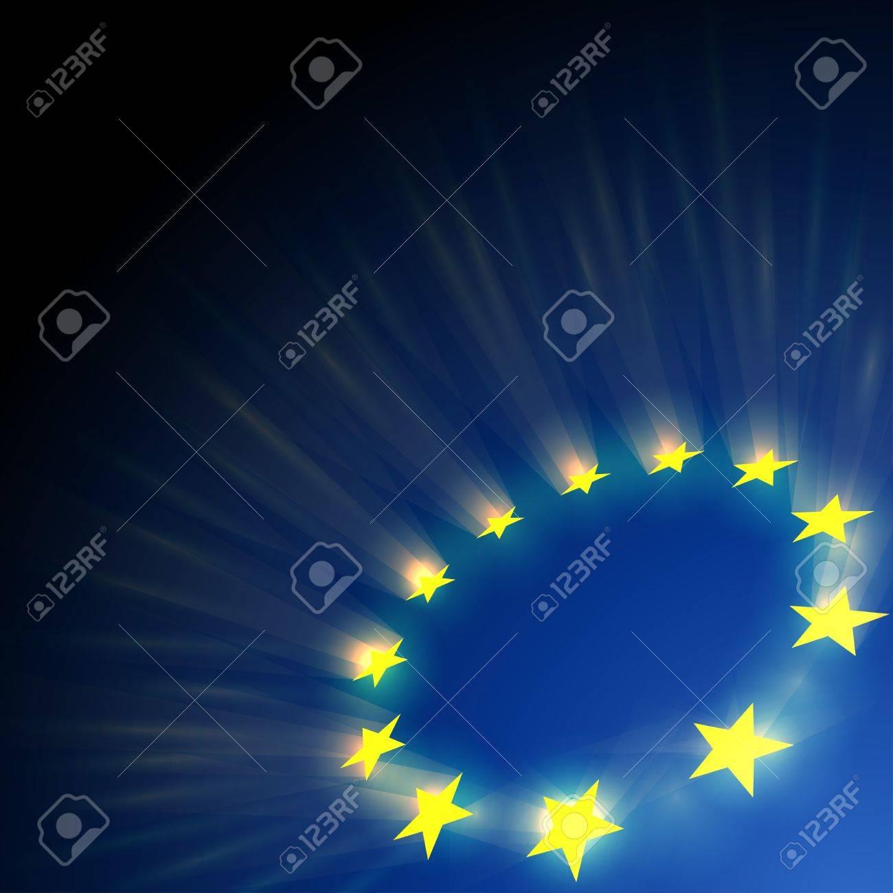 European Union stars glare on dark blue background. - 15900921