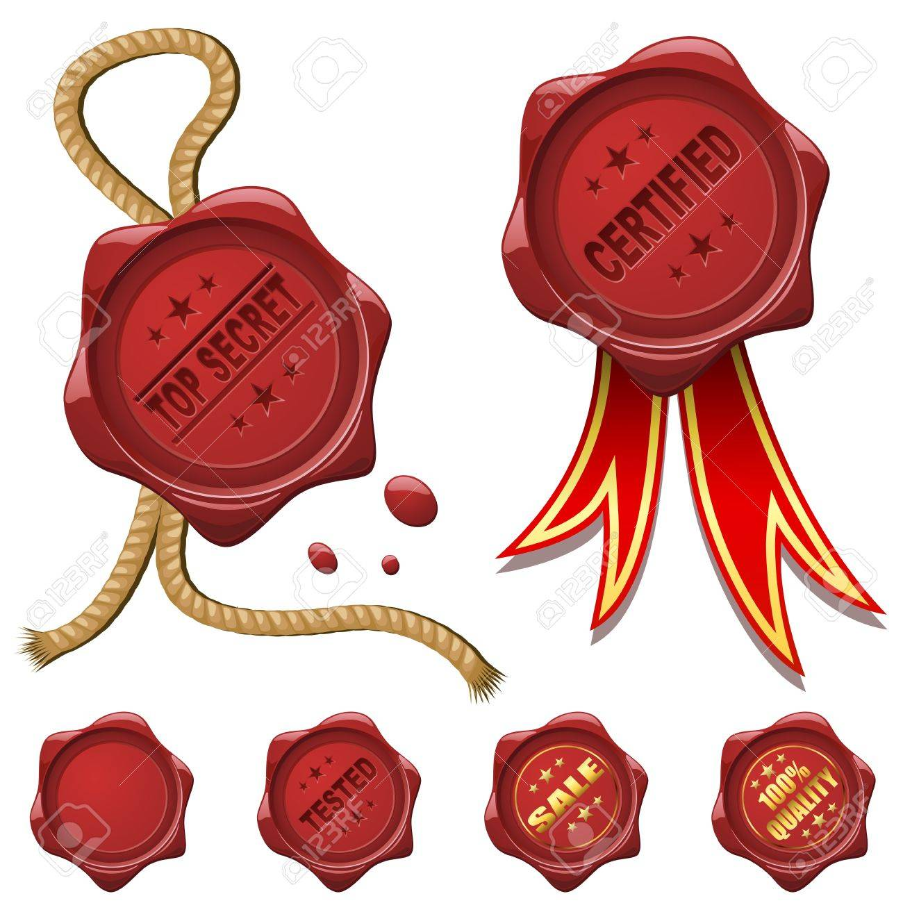 Collection of red wax seals isolated on white Stock Vector - 15901358