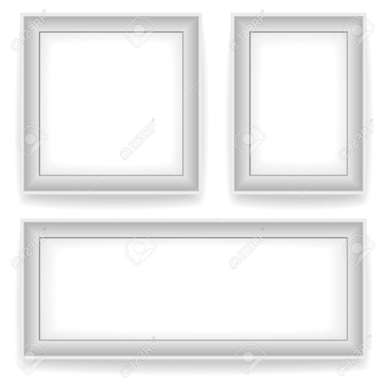 blank white wall picture frames isolated on white background 3 variants square vertical - White Square Picture Frames