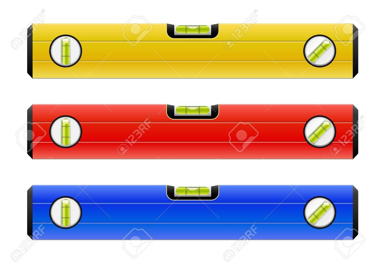 Standard construction level isolated on white vector illustration in 3 color variants Stock Vector - 16677074