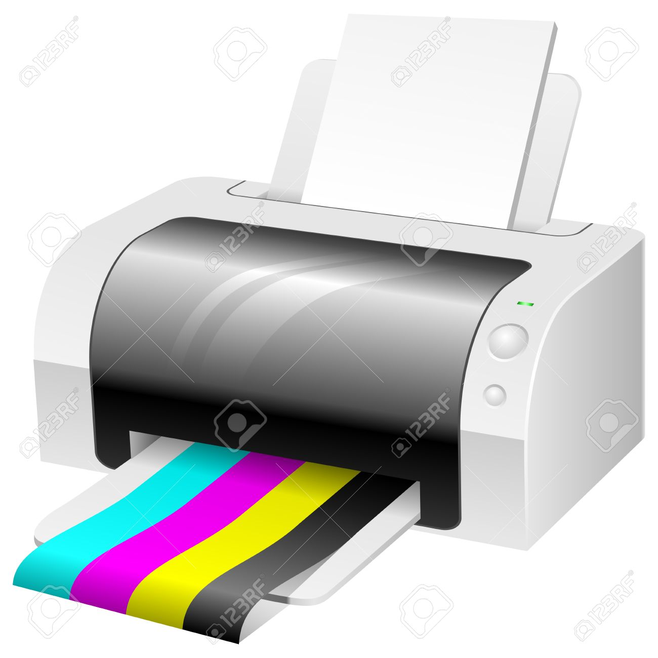 Color printing paper - Modern Color Printer With Cmyk Colored Paper Stock Vector 17916044