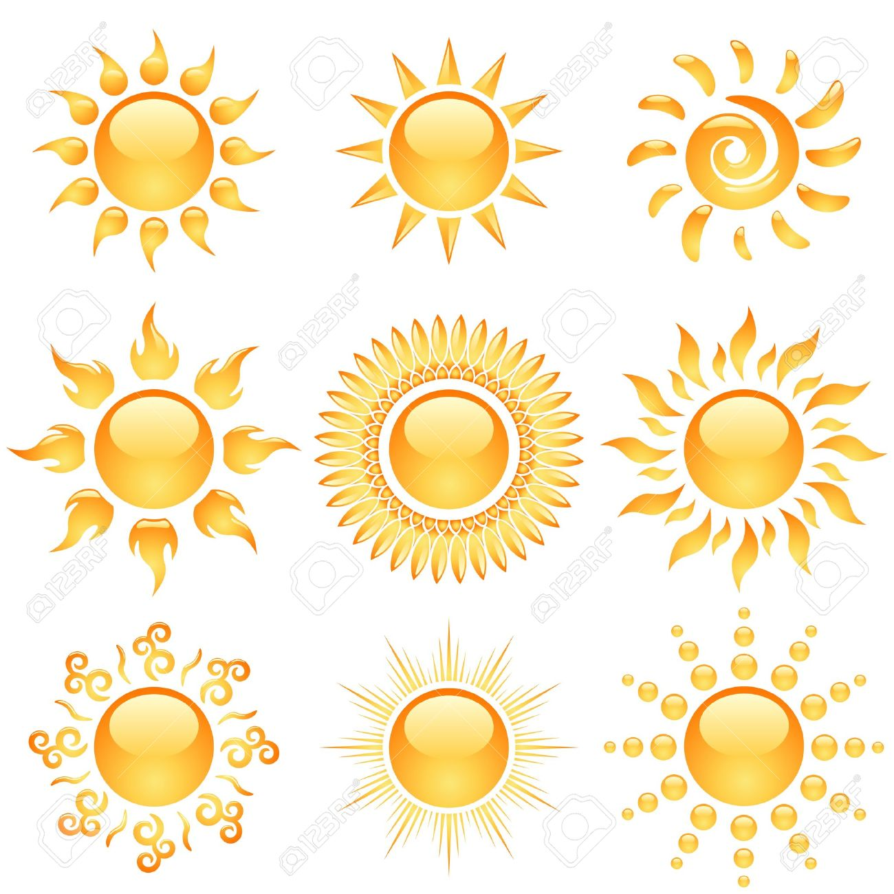 Yellow glossy sun icons collection isolated on white Stock Vector - 17916073