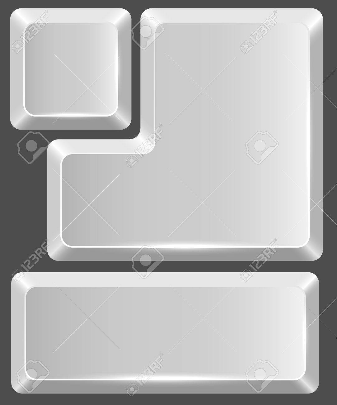 Blank white keyboard button isolated on gray background. Stock Vector - 18849626