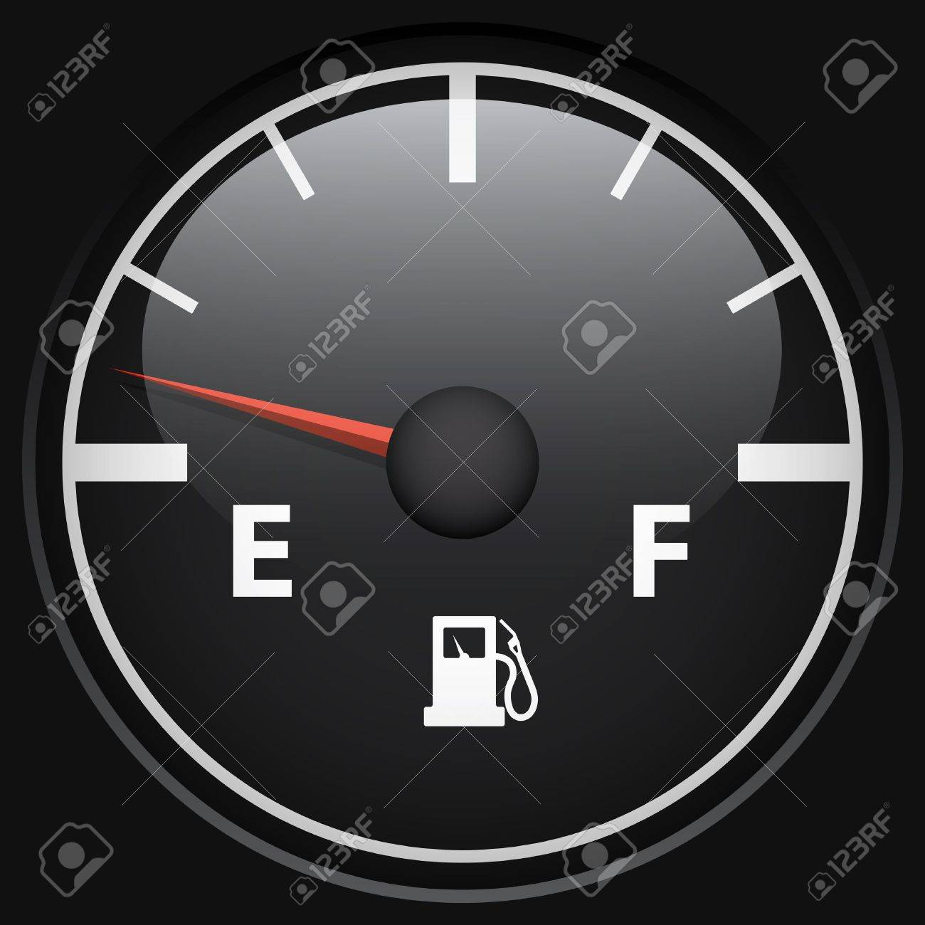 Black fuel gage isolated on black background vector template Stock Vector - 19375867