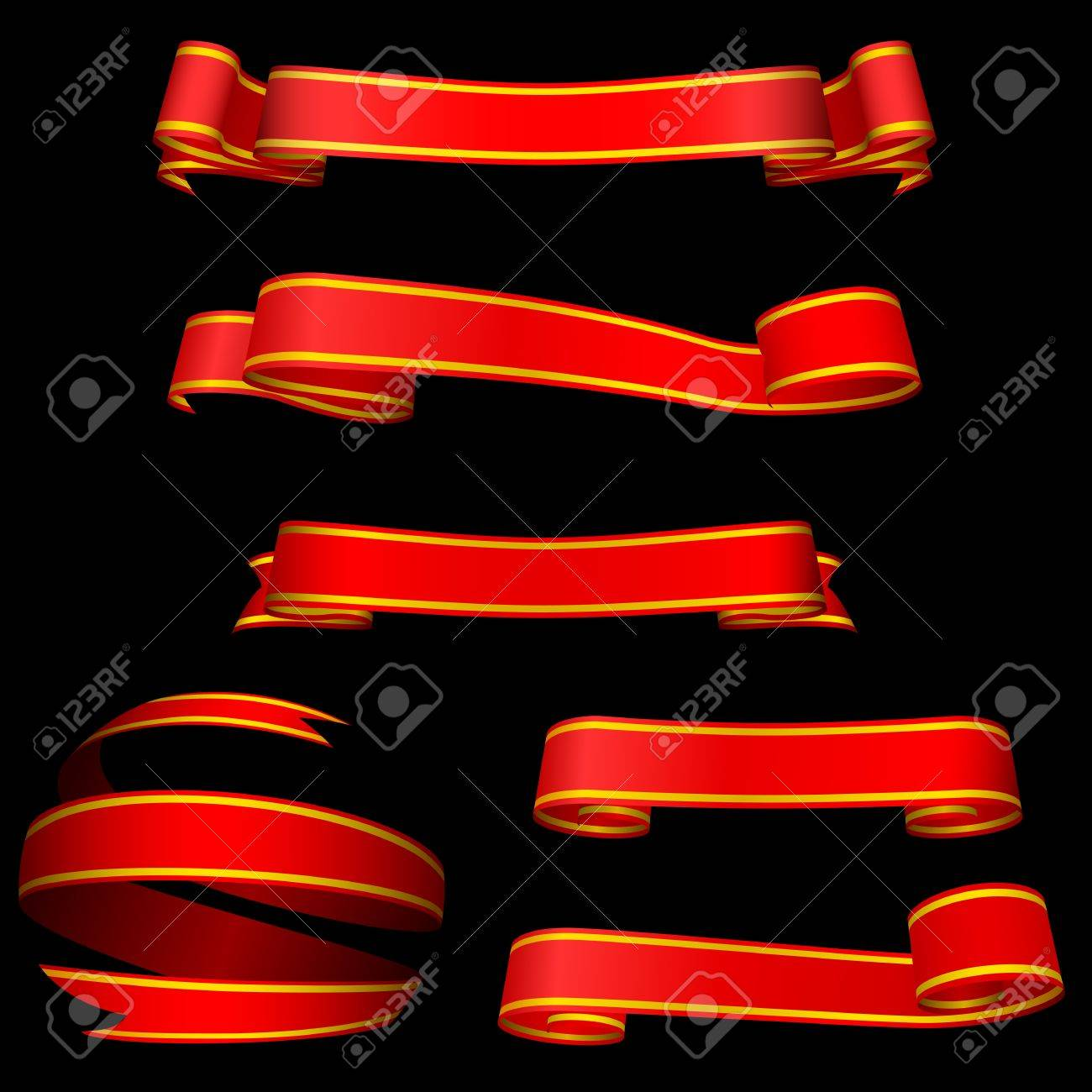 Red banners isolated on black background. Stock Vector - 19397674