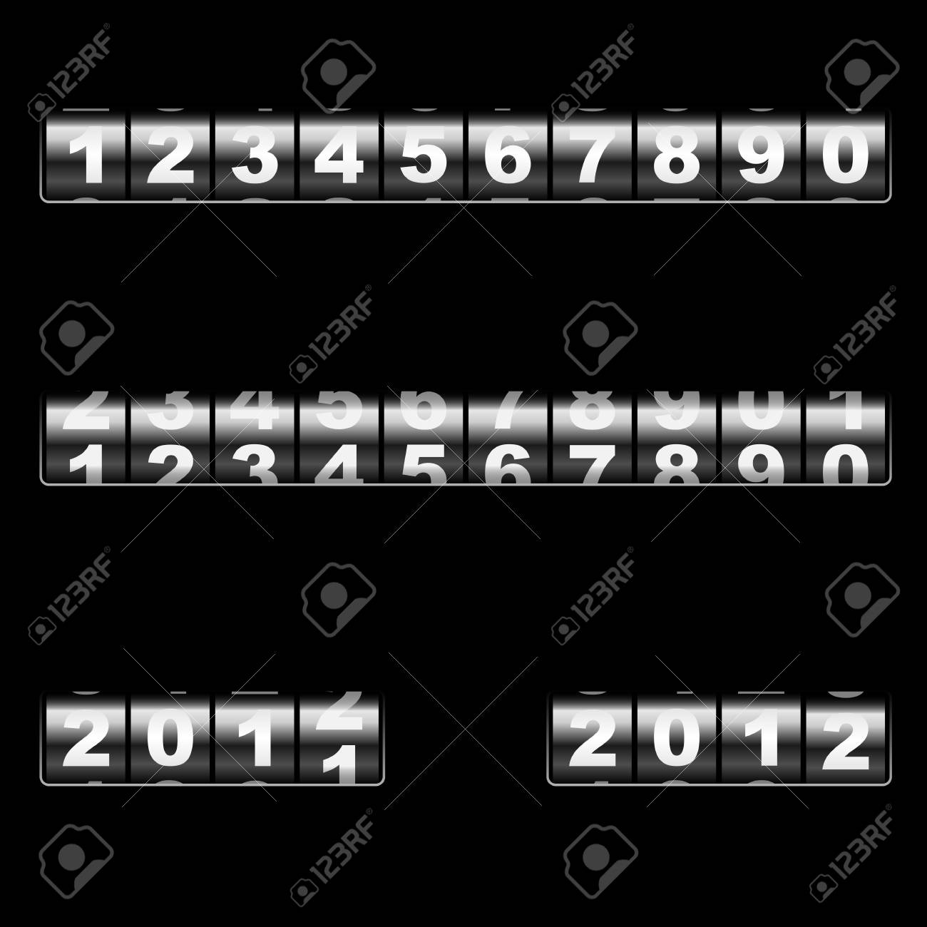 Out-dated universal mechanical counter template with two examples of usage  changing 2011 to 2012 year and 2012 year  Easy to edit and combine any numbers Stock Vector - 19975498