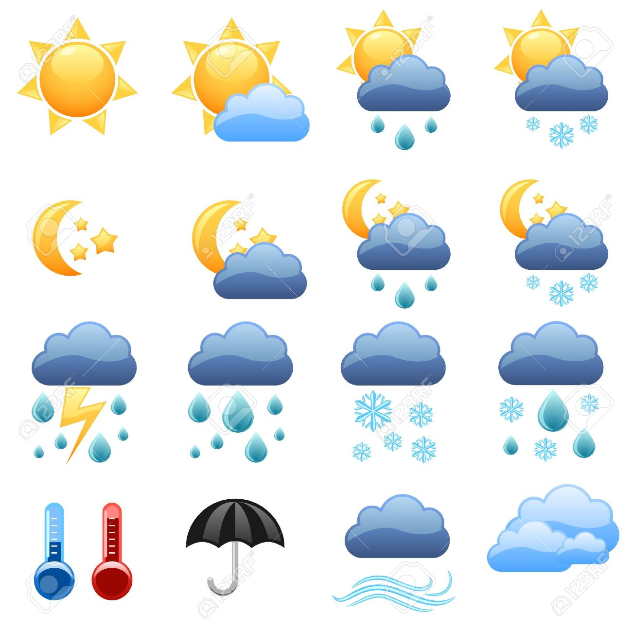 cool weather icons foe web site royalty free cliparts vectors