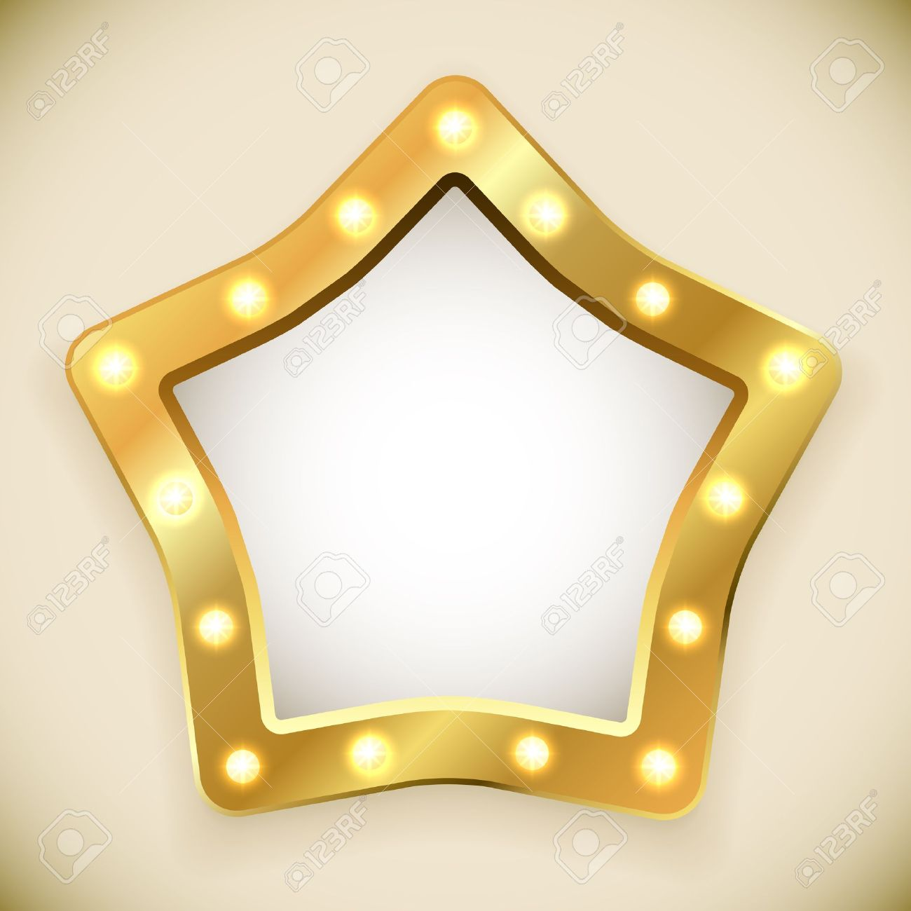 Blank golden star frame with light bulbs vector illustration Stock Vector - 21216118