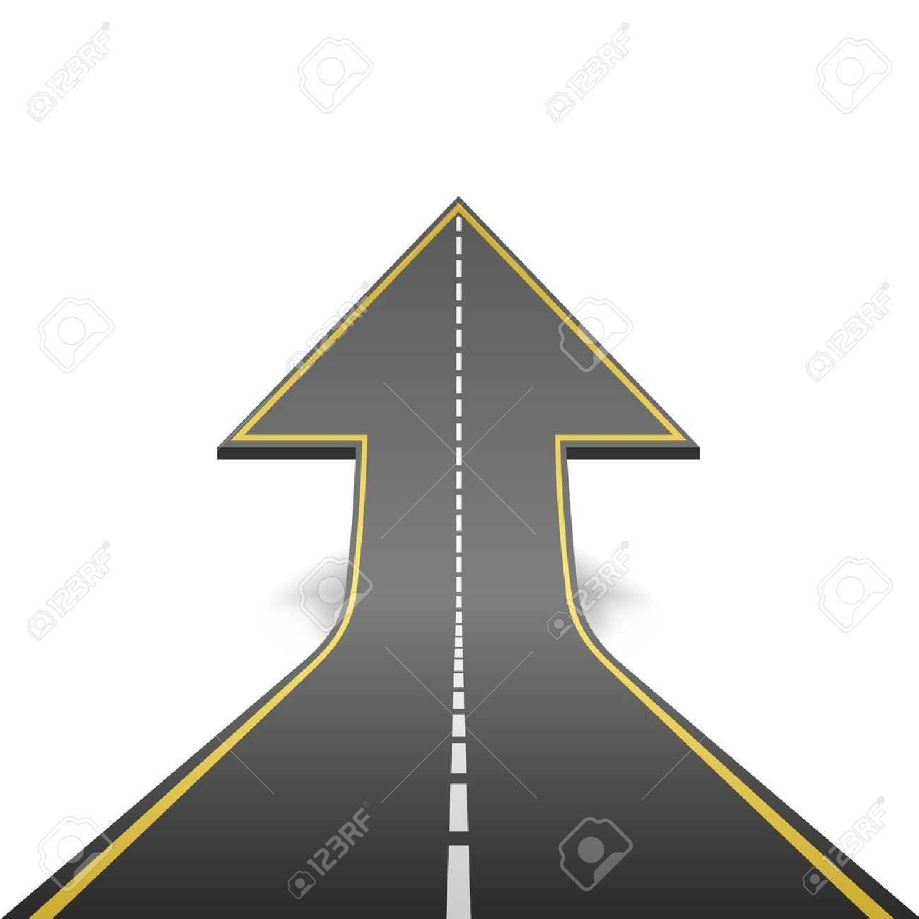 Straight road turning into ascending arrow concept vector illustration - 21216092