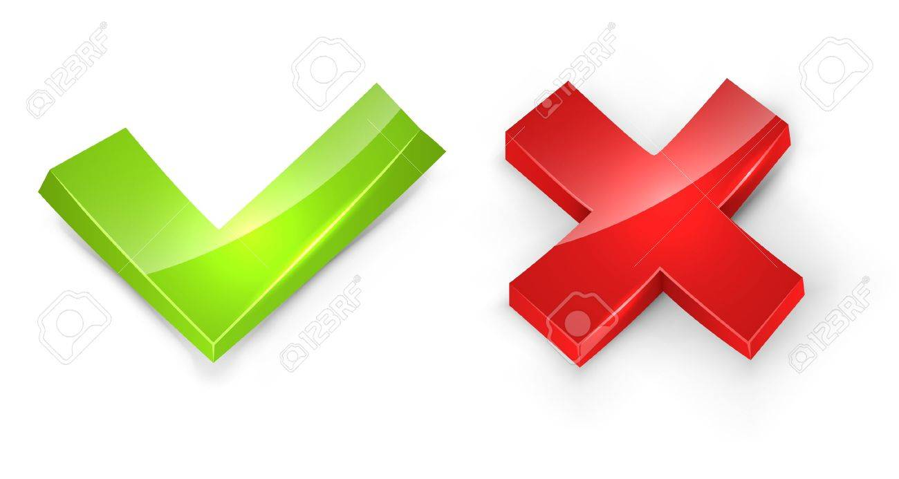 Concaved 3D tick and cross signs isolated on white background Stock Vector - 21075271