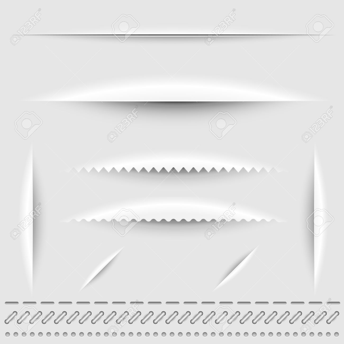 Paper cut, stitch and perforation dividers vector template Stock Vector - 21075166