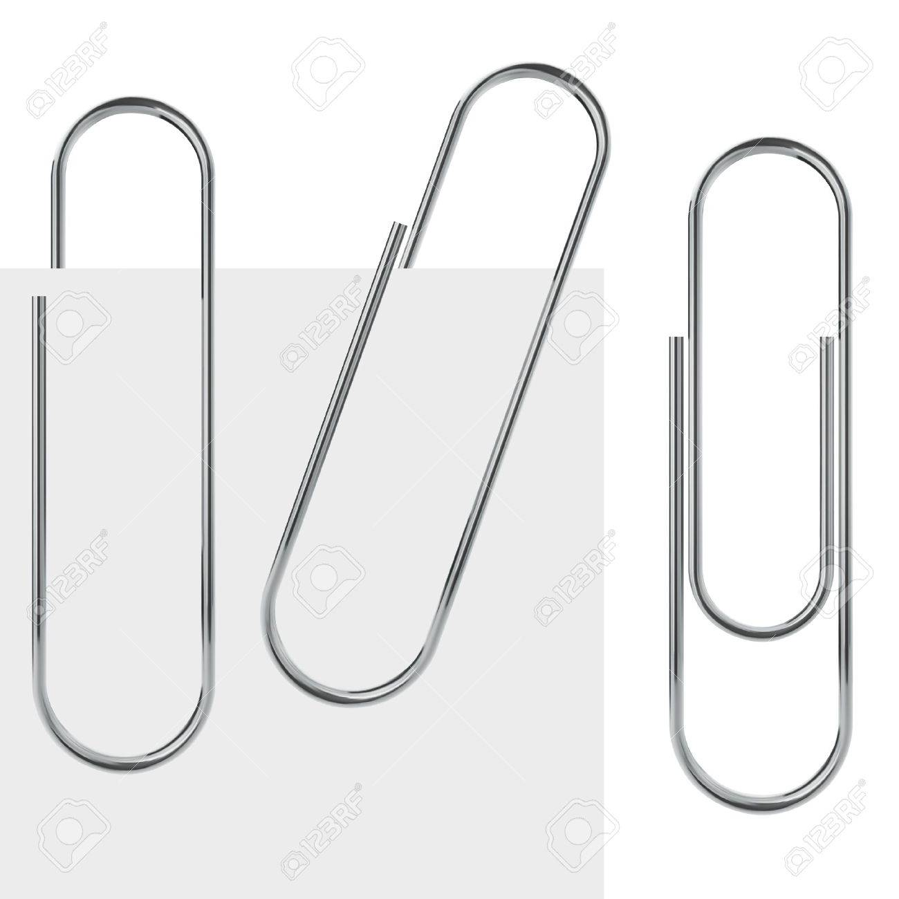 Metal paperclip template isolated on white background with samples - 22569549