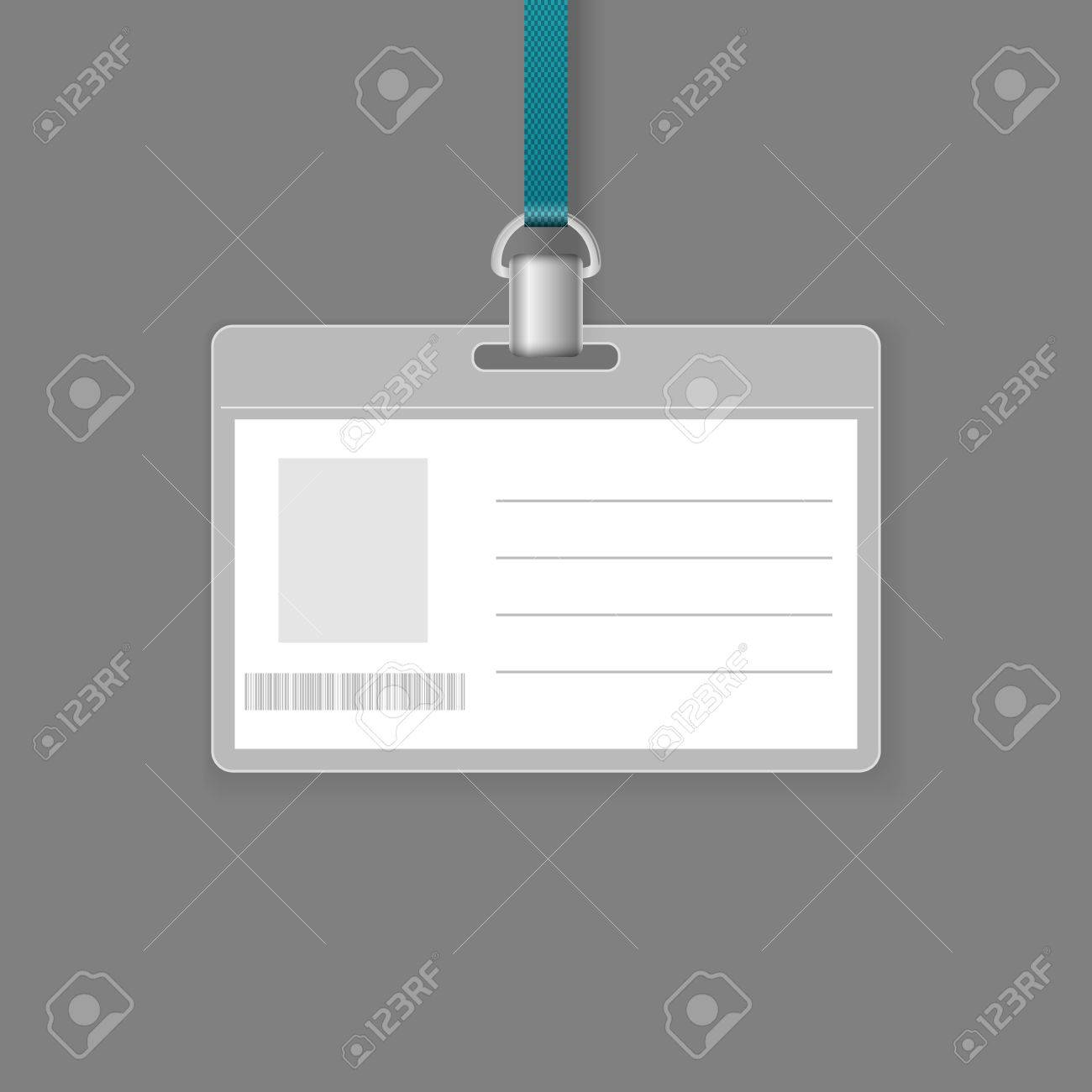 Blank ID Badge Vector Template Isolated On Grey Background Royalty – Id Badge Template