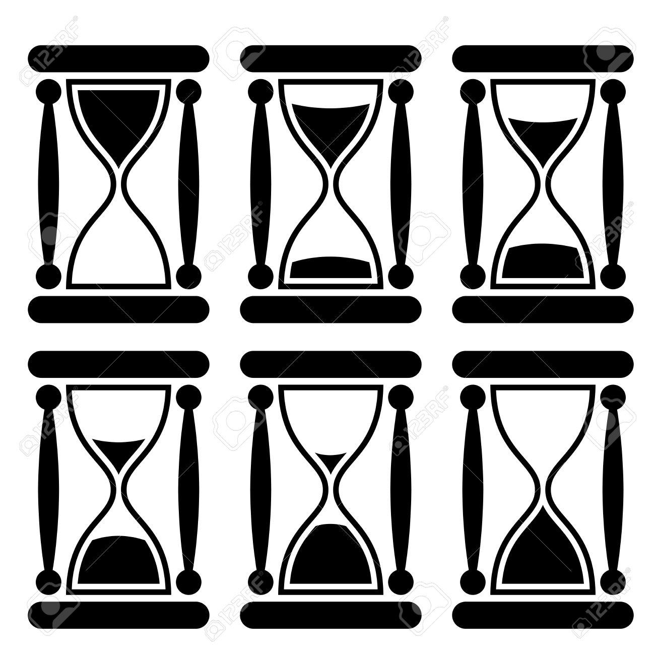 Sanduhr schwarz weiß  Schwarz Und Weiß Sanduhr-Symbol Zeigt, Die Zeit Vergeht Lizenzfrei ...