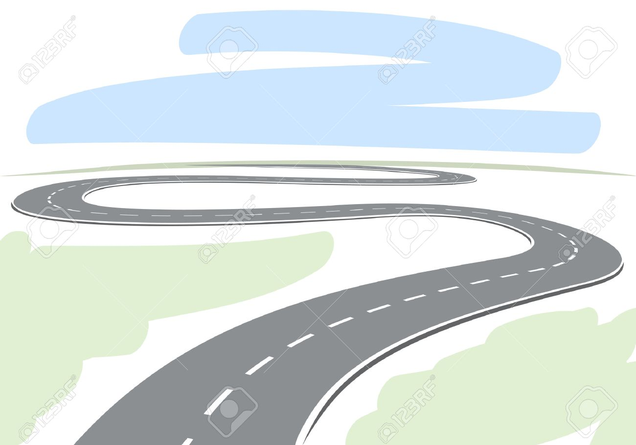 Abstract drawing of winding highway leading to the horizon vector illustration - 27951981