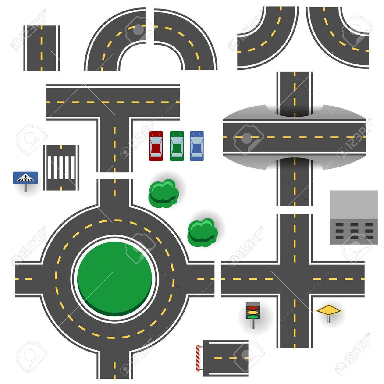 Asphalt road plan parts vector template. - 36086746