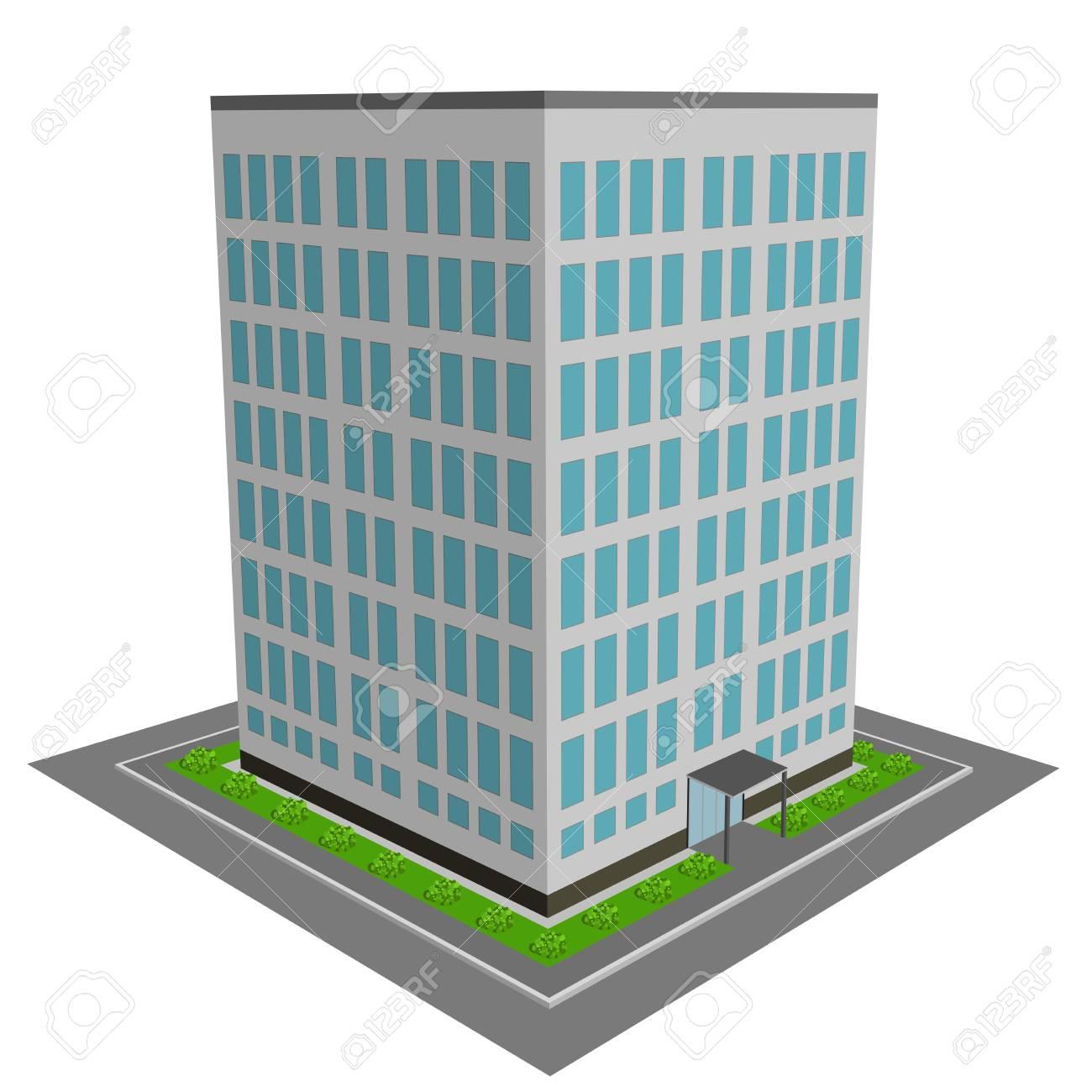 3d Office Building Flat Design Vector Illustration Royalty Free
