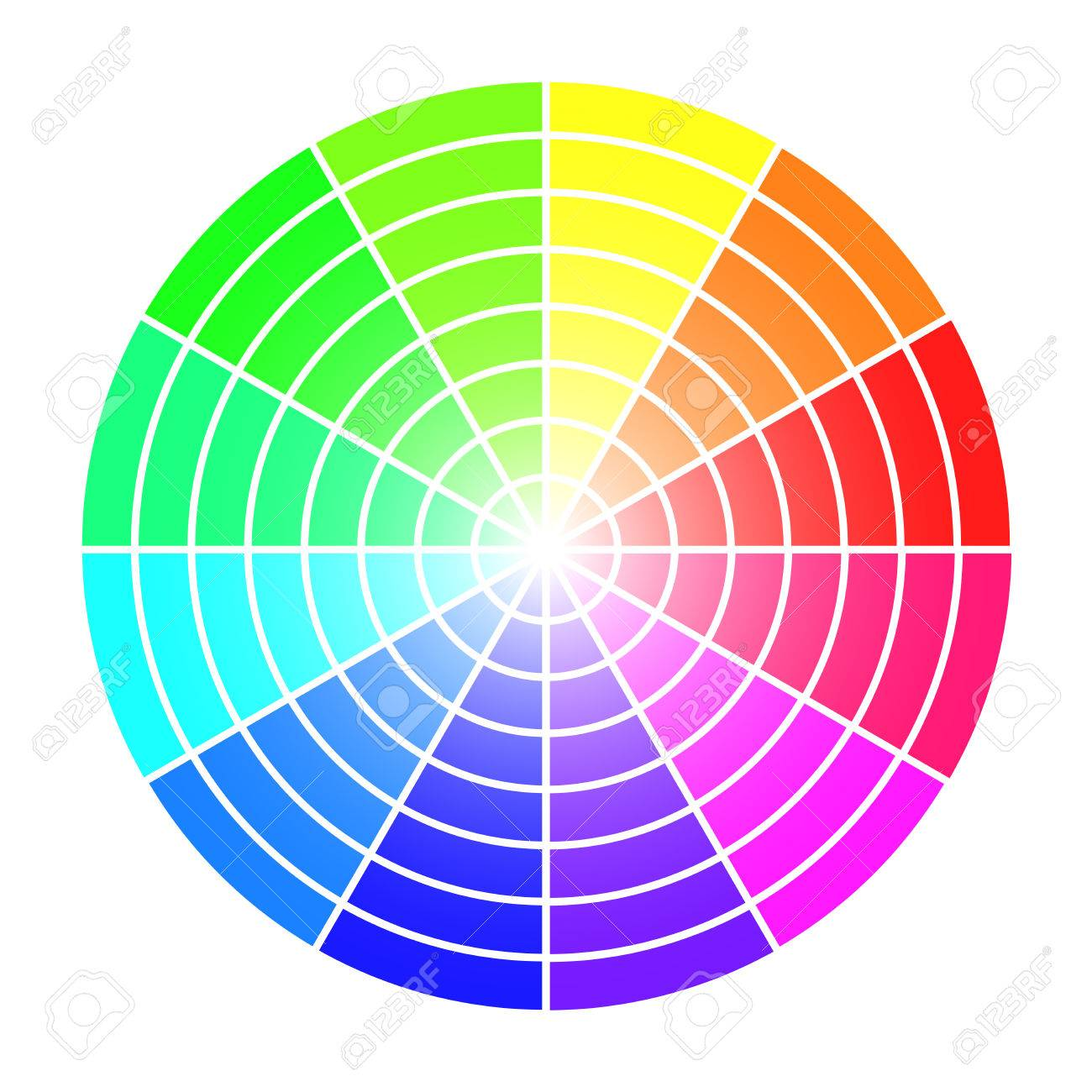 Color Wheel Vector Template Isolated On White Background Royalty