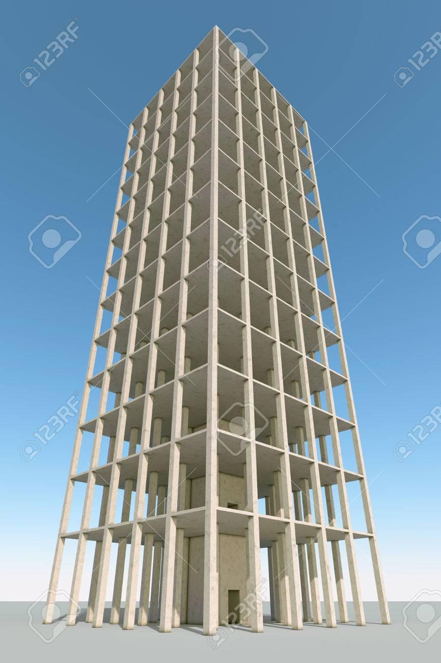 Betonrahmen Gebäude 3D-Konstruktion Hintergrund Machen. Lizenzfreie ...