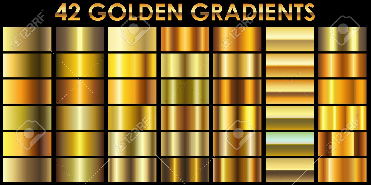 Set of 42 golden color illustrator gradients with black background. All gradients are added to swatches and ready for use. - 63247180