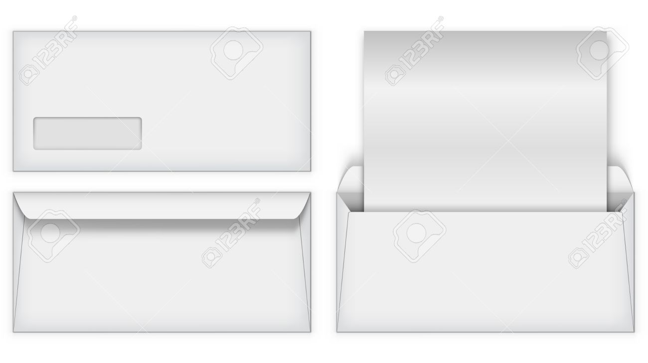 blank white business postal envelope vector template front and back of the clean letter